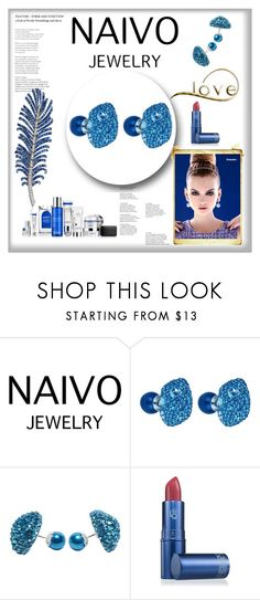 """""""Naivo 18K White Gold Plated Mosele Double Stud Earrings, Pearl and Pave Geo Stud- 5 Colors 8/20"""" by melikasalkic on Polyvore featuring moda i Lipstick Queen"""