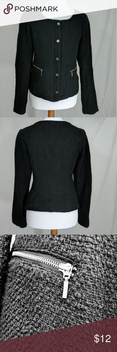 Black Boucle Zip-Front Blazer/Jacket Like new black snap over zip-front long sleeve boucle jacket.  Round neck.  Zip pockets. Maurices Jackets & Coats Blazers