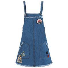 Sans Souci Patch detail denim overall dress ($59) ❤ liked on Polyvore featuring dresses, denim, blue color dress, sans souci, blue dresses, denim dress and blue denim dress