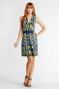 Ikat tribal printed linen dress