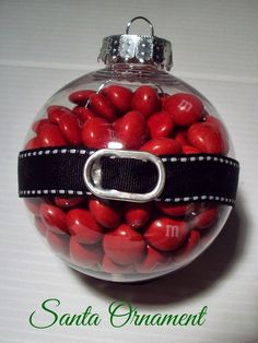 """Hot Santa"" ornament as I'd fill it with Red Hot Cinnamon candies for Steve. Love the creative use of a pop top upcycled for the belt buckle. I might add a bit of 'snow' around the very top for a hint of a beard."
