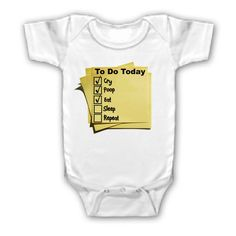 FUNNY SAYING SHIRT BABY'S TO DO LIST EAT SLEEP BABY YOUTH KID TODDLER INFANT  $8.99