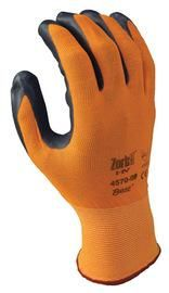 SHOWA™ Size 8 Zorb-IT® HV Abrasion Resistant Gray Nitrile Dipped Palm Coated Work Gloves With Hi-Viz Orange Seamless Nylon And Polyester Knit Liner And Elastic Cuff