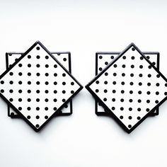 How cute are these!  Chalkboard tile coasters in black & white polkadots.  Shop these and more at ThePrettyDecorStore!