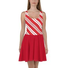 Candy Cane Skater Dress with Red Skirt, Christmas Party Dress, Red White Striped, Holiday Outfit, Sizes XS Dress to impress with this sleeveless skater dress! The soft fabric and flared skirt give it an elegant twist that brings out the intricate desi Plus Size Christmas Dresses, Red Skirts, Red And White Stripes, Holiday Outfits, Flare Skirt, Dress Red, Candy Cane, Skater Dress, Soft Fabrics