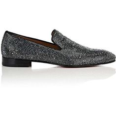 Christian Louboutin Men's Dandelion Strass Flat Suede Venetian Loafers ($3,795) via Polyvore featuring men's fashion, men's shoes, men's loafers, mens slip on loafers, mens suede slip on shoes, mens venetian shoes, mens suede shoes and mens venetian loafers