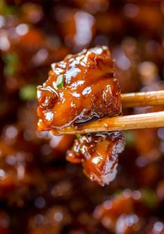 Bourbon Chicken. This chicken is so deliciously sweet and sticky and has a deep bourbon flavor with hints of the apple juice. It's good. Super good.