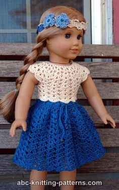 ABC Knitting Patterns - American Girl Doll Seashell Summer Skirt.plus links to the top and headband