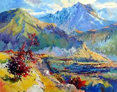 """SUREN NERSISYAN Early Evening in Mountains (Caucasus), 2013  oil painting on stretched linen one-of-a-kind signed on front and back 24""""hx..."""