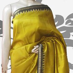 Olive Green Mulberry Silk Orissa Handloom Saree with Blouse