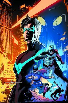 Nightwing, Batman, Batgirl and Robin - Javier Fernandez Nightwing, Batgirl, Batwoman, Batman Y Robin, I Am Batman, Superman, Batman Stuff, Batman Art, Comic Book Covers