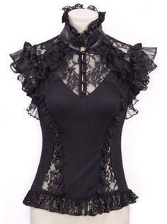 Lace Frill Top [Black] <3  www.beserk.com.au