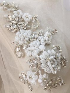 Items similar to Exquisite Rhinestone Beaded Applique , Bridal Belt Wedding Sash , Crystal Tulle Lace Patch for Wedding Strap Shoulder on Etsy Zardozi Embroidery, Hand Embroidery Dress, Wedding Embroidery, Bead Embroidery Patterns, Embroidery On Clothes, Couture Embroidery, Embroidery Fashion, Silk Ribbon Embroidery, Embroidery Designs