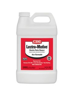 CRC 5019 Lectra-Motive Electric Parts Cleaner, 1 Gal  This chlorinated based material quickly removes grease, oil and dirt from motor parts and other such equipment. Non-flammable formula Non-flammable formula Dissolves grease, oil, dirt and wax Non-flammable formula Non-flammable formula Dissolves grease, oil, dirt and wax This aggressive cleaner is specifically for electric motors, transformers and machinery Non-flammable formula Non-flammable formula Dissolves grease, oil, dirt an..
