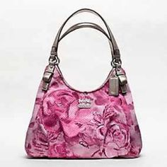 """COACH MADISON FLORAL MAGGIE SHOULDER BAG NWT Updated in an impressionistic floral print, this stunning version of the beloved Maggie silhouette is frosted with gunmetal metallic leather for a striking contrast. Three separate compartments inside continue the luxury with perfect organization. Floral print fabric with metallic leather trim Inside zip, cell phone and multifunction pockets Zip-top closure, fabric lining Handles with 10"""" drop. Brand New With The tags!   Pet and Smoke Free Home…"""