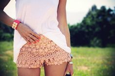 Sierra - think your mom could make a pair of these? Not necessarily for me, but for Little P. Crochet shorts.