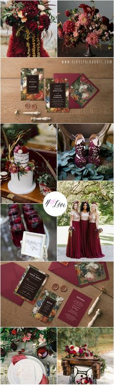 Floral Marsala wedding inspiration with our new invitations. Elegant and romantic design with touch of vintage feeling #wedding #ideas