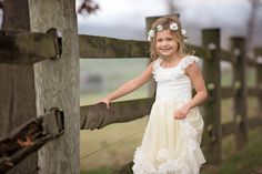 Rustic Lace Flower Girl Dress Long Ivory Lace by CountryCoutureCo