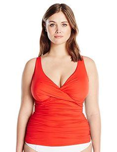 71d41031d41 Anne Cole Women's Plus Size Live in Color Over the Shoulder Shirred  Twist-Front Underwire Tankini: Anne Cole signature plus size solid twist  front tankini ...
