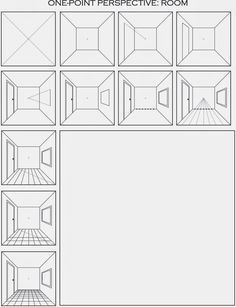 The first video shows the easiest quick method for drawing a room in one point perspective using only a ruler and a square piece of paper: ...