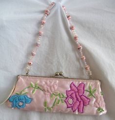 Pink Beaded Embroidered Cocktail Purse Handbag