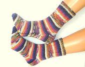 Hand knitted socks wool socks Warm elegant stylish socks colorful Raibow color socks alpaca yarn striped socks  Gift Multicolor sock yarn