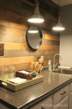 wood planked backsplash - how to make new wood look like a reclaimed wood wall - and it is simple!