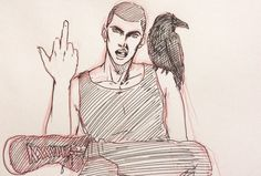 A boy and his bird by i-am-weis.tumblr.com Typical Ronan. <3 #TheRavenCycle #RonanLynch #TRC