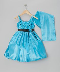 Turquoise Organza Flower Bubble Dress & Shawl - Toddler & Girls by Sophia Young #zulily #zulilyfinds