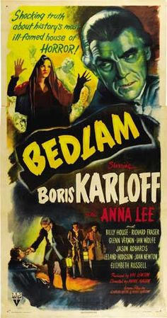"Bedlam Movie (1946) Val Lewton was inspired to his historic terror piece by an etching from William Hogarth's ""A Rake's Progress""."