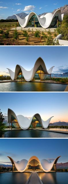 Architecture firm Steyn Studio have designed a sculptural and modern chapel, located within a vineyard in Western Cape, South Africa, that's surrounded by a valley and mountains.