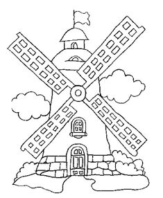dutch windmill coloring page | Netherlands Coloring Pages