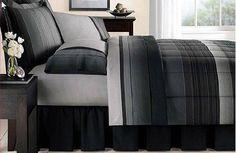 Amazon.com: Black & Gray Striped Boys Queen Comforter Set (8 Piece Bed In A Bag): Bedding & Bath