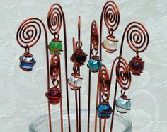 Spiral-Tabellennummer, Foto oder Kartenhalter, Picks, Pflanzen Set von 10 in Kupfer mit Draht gewickelt Marmor Glasprismen