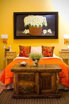 love the chest at foot of the bed idea mexican