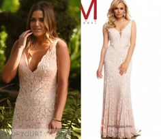 JoJo Fletcher wears this light pink lace plunging v neck gown in this week's finale episode of The Bachelor. It is the [...]