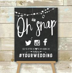 Personalized Oh Snap Social Media Wedding Sign Chalkboard Hashtag Wedding Sign Hashtag Wedding Sign DIY Printable JPEG is part of Wedding signs diy CherryImprintDesign section id - Wedding Hashtag Sign, Wedding Signage, Chalkboard Wedding Signs, Instagram Wedding Sign, Unplugged Wedding Sign, Our Wedding Day, Diy Wedding, Wedding Ideas, Sister Wedding