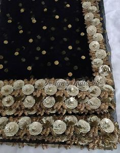 Indian Pakistani Designer Dupatta Chunni Stole Scarves Black color sequine embroiderd Net for Lehenga Suit Salwar Kameez for Women and Girls Zardozi Embroidery, Hand Embroidery Dress, Beaded Embroidery, Half Saree Designs, Saree Blouse Designs, Pakistani Dress Design, Pakistani Designers, Shadi Dresses, Pakistani Dresses