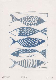 Lino print – fish motif – seaside prints – linocut print – blue fish – limited edition – lithographed – original hand drawn from print This blue fish linocut is an original hand drawn limited edition lithographed by SMITH DESIGN. Woodblock Print, Lino Art, Stamp Carving, Linoprint, Fish Patterns, Fish Print, Fish Design, Linocut Prints, Limited Edition Prints