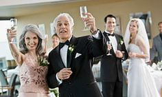 The father of the bride makes the most important toast of the evening.