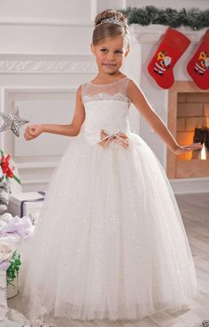 A+Tulle Ball Gown Baby Girl Birthday Party Christmas Dresses Flower Girl  Dress 21a584fe5a5d