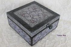 Schatulle,Schachtel in edelschwarz und altsilb von vintage Shop auf DaWanda.com
