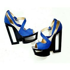High End C Label Blue Platforms Edgy and Graphic these are amazing and one of a kind, Excellent Condition.   If you dare to be different, these shoes are for you! C Label Shoes Platforms