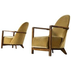 Pair of Dutch Art Deco Club Chairs in Yellow Upholstery | From a unique collection of antique and modern lounge chairs at https://www.1stdibs.com/furniture/seating/lounge-chairs/