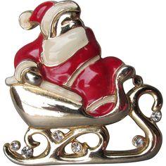 Vintage Christmas Enamel & Rhinestone Santa in Sleigh Pin found at www.rubylane.com @rubylanecom