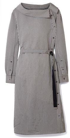 Altuzarra - Albany Oversized Striped Twill Midi Dress - Black