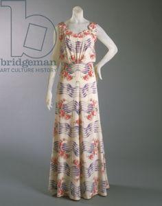Dress designed by Elsa Schiaparelli, Summer 1937 (silk crepe with self appliques & silk velvet ribbon)  Image ID: PHL 434414