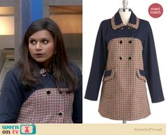 Mindy's navy and red patterned coat on The Mindy Project.  Outfit details: http://wornontv.net/14010/