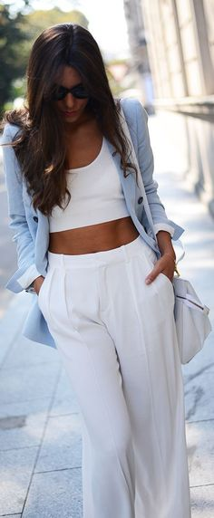 Street Style... love this white outfit - but the blue jacket puts it over the top... HotWomensClothes.com