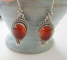Sterling Silver Carnelian Pierced Earrings by TheSnapDragonsLair